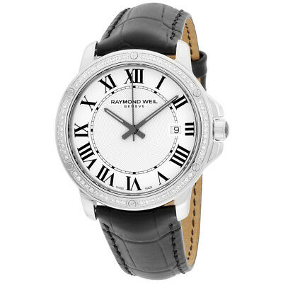 Raymond Weil Tango White Dial Leather Strap Men's Watch 5591-LS1-00300