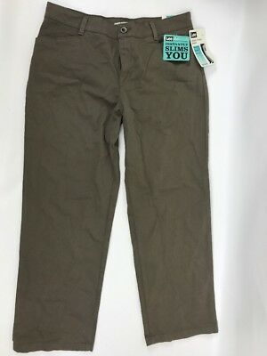 Lee Plain Front Pants Relaxed Fit Stretch Straight Leg Womens 14 Short At Waist