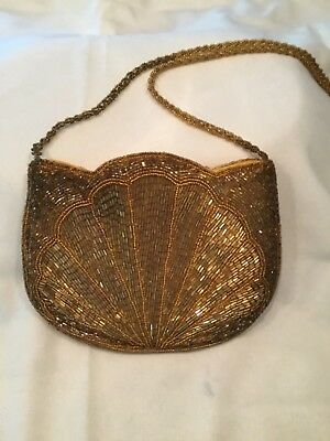 "Euc Beautiful Unique  Womens Sparkling Beaded  Evening Purse 8""W By 6""H  Zipper"