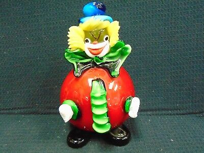 "Vintage Italian Murano Hand Blown Glass Clown 7 1/2"" Tall Weighs 38.11 Oz"