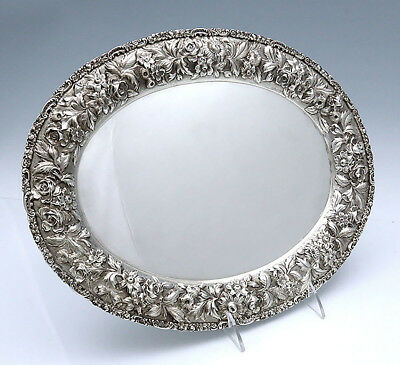 STIEFF Baltimore ROSE Sterling Silver OVAL TRAY REPOUSSE
