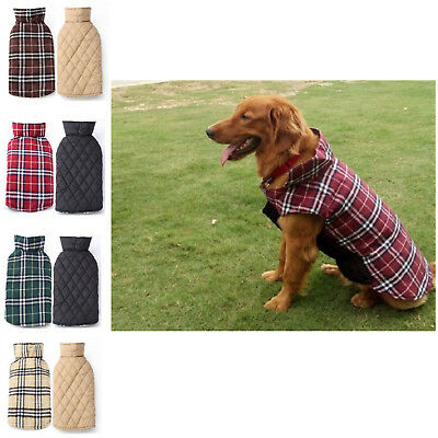 Dogs Clothes Waterproof Reversible Plaid Winter Warm Jacket Coat For Pet Puppy