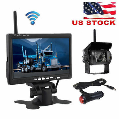 "Wireless Night Vision System Rear View Backup Camera + 7"" Monitor Kit RV Truck"