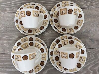 Royal Vale Afternoon Tea Vintage Wedding Cafe Set Brown Flowers Cups Plates X 4