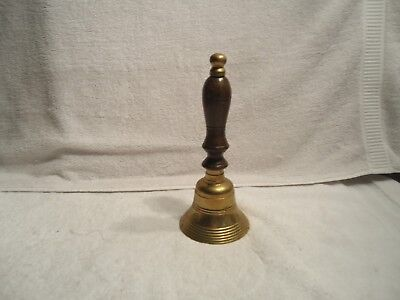 "Hand Held Call Bell Solid brass 9"" school dinner church heavy  wooden handle"