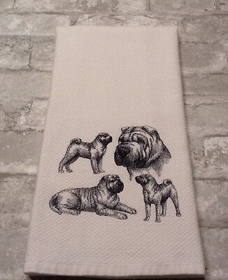 Shar Pei Collage Sketch Embroidered Wm Sonoma Kitchen Hand Towel