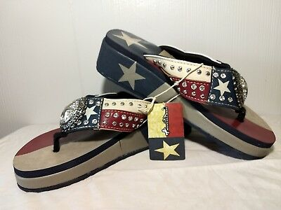 68ce073b7c4ba Montana West Texas Flag Wedge Sole Lonestar Bling Concho Flip Flops Sandals  Sz 8
