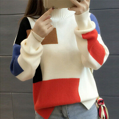 Women Fashion Contrast Color Pullover Jumper Long Sleeve Knitted Tops SweatJB