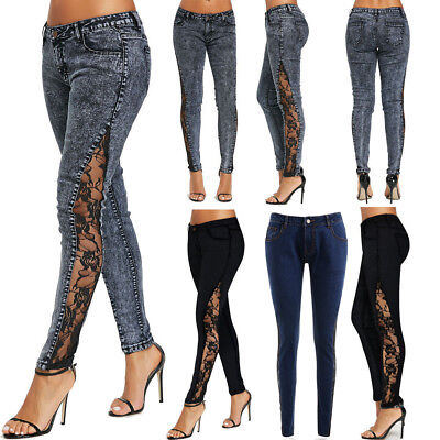 US Women's Slim Denim Skinny Jeans Side Crochet Lace Party Pencil Pants Trousers