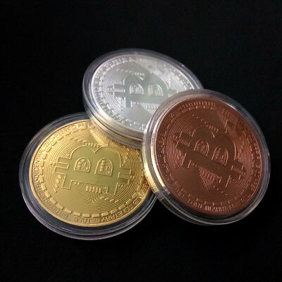 Bitcoin Commemorative Round Collectors BTC Gold Sivler Copper Physical Coin