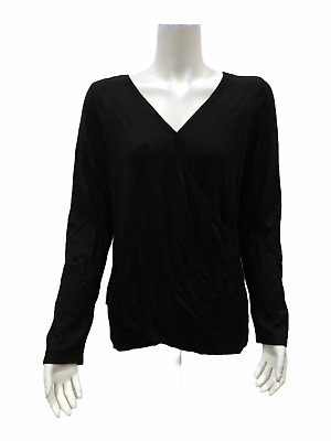 894f3429c89 H by Halston Reversible Wrap Style Long Sleeves Sweater Black Medium Size  QVC