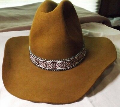 American Southwest Native Style Hand Beaded Diamond X Western Hat Band