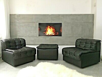 Vintage Design Black Leather DS11 Modular sofa from De Sede two seater +foostool