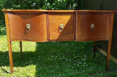 Edwardian Inlaid Mahogany Serpentine Sideboard