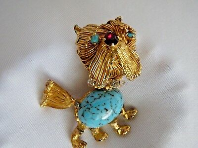 Vintage Yellow Gold Tone Wire Wrap Jelly Belly Stone Belly Dog Pin Brooch 1 5/8""