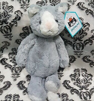 Jellycat Grey Bashful Cat Kitten Plush Comforter Soft Toy new with tags