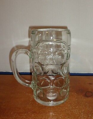 Clear Big 1 L Beer Stein Glass Circle Pattern Circle 3 Triangles Mark On Bottom