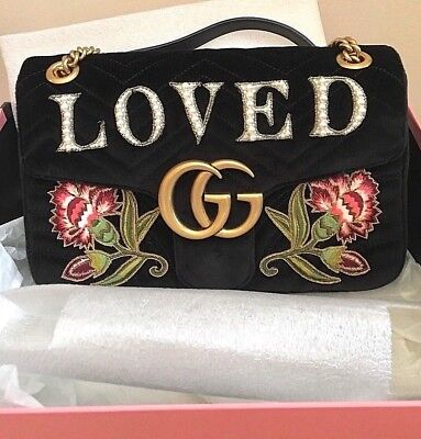 1a41aa52f71884 GUCCI NEW Pearl -LOVED- VELVET Marmont Bag w/Embroidered Flowers (box  &RECEIPT