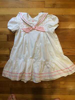 Polly Flinders VTG Nautical White with Pink Bow and Trim Girls Dress 5 NWOT