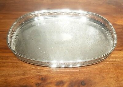 Superb LARGE VINTAGE CHASED GALLERY SILVER PLATED TRAY PLATTER SERVING DISH