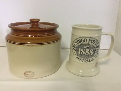Bendigo Pottery Canister and Mug.