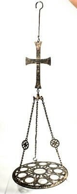 Large Ancient Byzantine Bronze Chandelier w Cross .