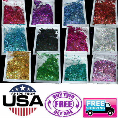 Chunky Mixed Hex Glitter Nail Face Eye Body Tattoo Festival Dance Club 5 GRAMS