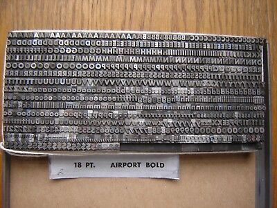 """Letterpress Metal Type  """" Airport Bold """"  18 Point"""