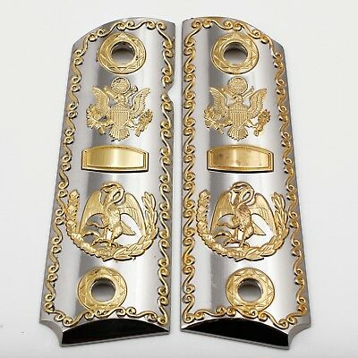 1911 GUN GRIPS Nickel Gold Plated Cacha Fits Springfield