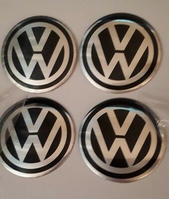 4 x 60mm VW BLACK AND SILVER Aluminium Centre Cap Overlays / Stickers