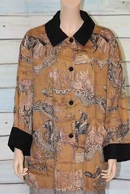 Equestrian Artist Smock Jacket Cotton size Large Horse/ Pockets Covered Buttons
