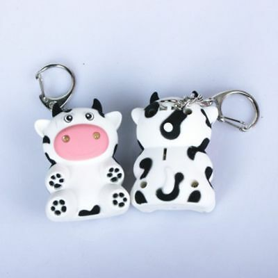 Cartoon Cow Shape With Sound LED Key Chain Key Ring Kids Toy Flashlight
