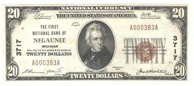1929 $20 National Currency, Negaunee, Char. 3717, Low S/n,very Fine, Crisp