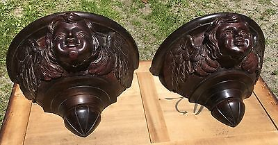 Pair Of Large Rare Mahogany Carved Winged Cupid Shelves