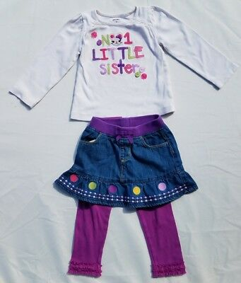 Gymboree Girls Shirt Skirt Size 2T Mousing Around Little Sister Denim Jean