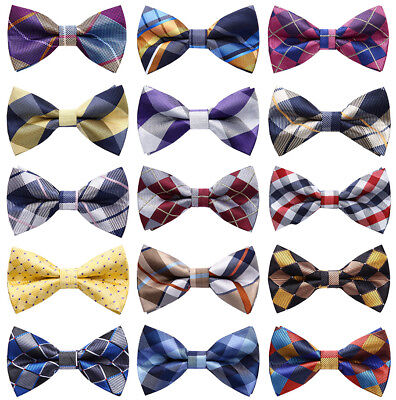 Red Black Mens Classic Formal Check Dot Adjustable Pre-tied Bowtie Tuxedo Ties