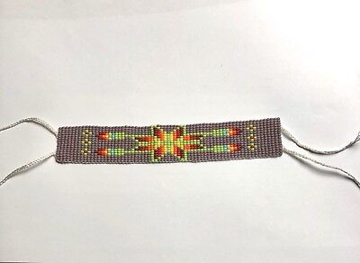 Thick Huichol Hand Crafted Flower Mexican Beaded Bracelet