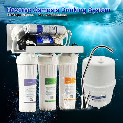 50GPD Water Filtration 5Stage System UnderSink Reverse Osmosis Pure Booster Pump
