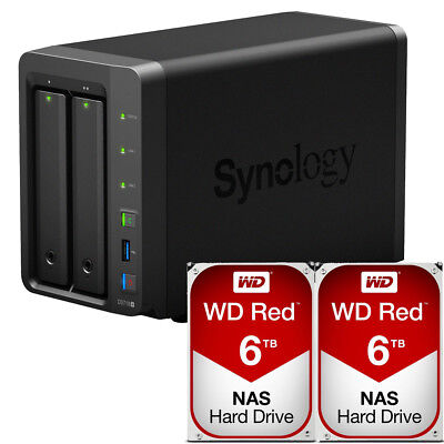 Synology DS718+ DiskStation with 12TB (2 x 6TB) Western Digital NAS Drives