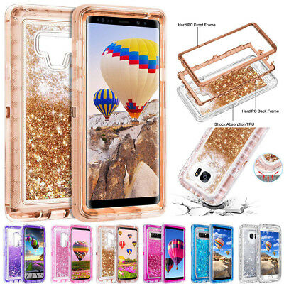 For Samsung Galaxy Note 9+ Glitter Clear Armor Quicksand Liquid Phone Case Cover