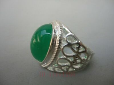 Collectible Decoration Handwork China Tibet Silver Carved Flower Inlay Bead Ring