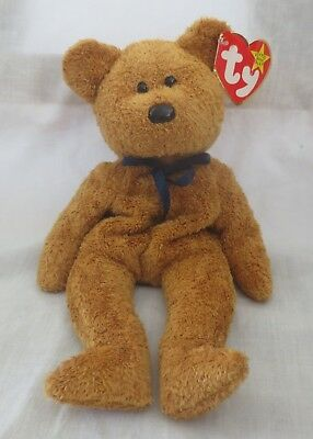 Ty Beanie Baby Fuzz the Bear 5th Generation Creased Tag