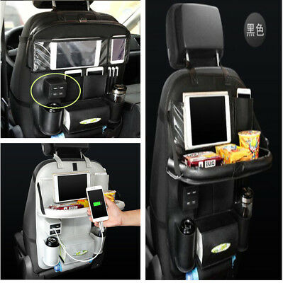 4 USB Car Seat Back Storage Organizer PU Leather Travel Bag Food Table Holder