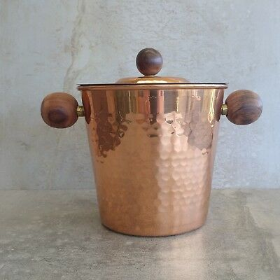 Mid Century Copper Ice Bucket with Teak Handles Japan Vintage Tin Lined Barware
