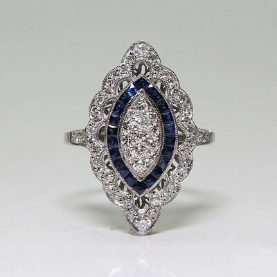Vintage Women 925 Sliver White Topaz & Sapphire Jewelry Wedding Gift Ring Sz6-10