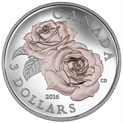 Queen Elizabeth Rose 2016 Canada - Silver Coin with Selective Rose Gold Plating
