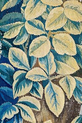 ANTIQUE 17th 18th CENTURY FRENCH TAPESTRY VERDURE FRAGMENT
