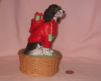 Vintage Ceramic Santa Dalmatians Dog Music Box; By Schmid 1987