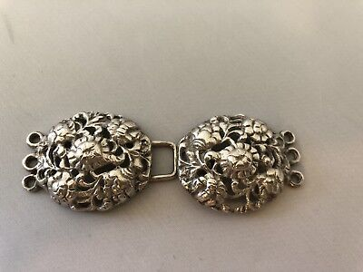 Beautiful Antique Ornate Solid Sterling Silver Ladies Belt Buckle