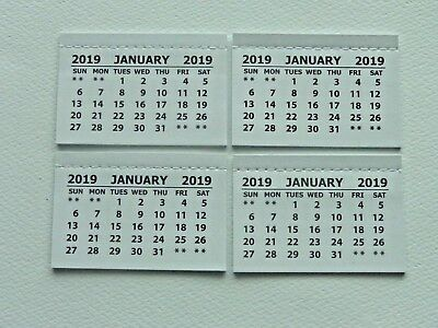 4 Mini 2019 Monthly Tear Off Calendar Pads (Jan-Dec) Back Page Is Blank Crafts